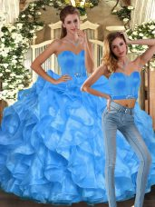 Wonderful Baby Blue Ball Gowns Ruffles Quinceanera Gowns Lace Up Organza Sleeveless Floor Length