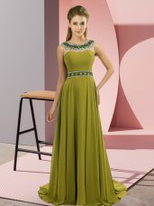 Edgy Sleeveless Beading Zipper Celeb Inspired Gowns with Olive Green Brush Train