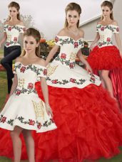 Edgy White And Red Off The Shoulder Neckline Embroidery and Ruffles 15th Birthday Dress Sleeveless Lace Up