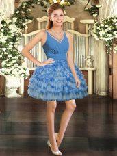 Best Mini Length Blue Cocktail Dress Organza Sleeveless Ruffled Layers