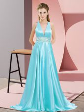Charming V-neck Sleeveless Elastic Woven Satin Prom Gown Beading Brush Train Backless