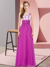 Designer Sleeveless Backless Floor Length Appliques Bridesmaid Dresses