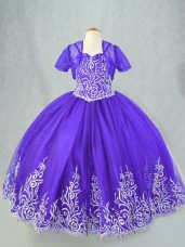 Luxurious Sleeveless Floor Length Beading and Embroidery Lace Up Little Girls Pageant Dress Wholesale with Purple