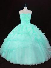 Sleeveless Floor Length Ruffles and Hand Made Flower Lace Up Vestidos de Quinceanera with Apple Green