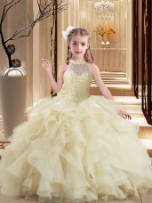 Inexpensive Sleeveless Brush Train Lace Up Beading and Ruffles Pageant Gowns For Girls