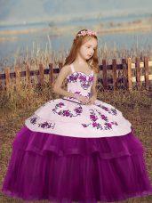 Adorable Fuchsia Side Zipper Little Girl Pageant Dress Embroidery Sleeveless Floor Length