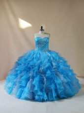 Attractive Organza Sweetheart Sleeveless Lace Up Beading and Ruffles Quince Ball Gowns in Baby Blue