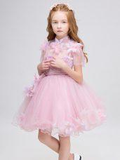 Baby Pink Ball Gowns Appliques Toddler Flower Girl Dress Zipper Tulle Short Sleeves Mini Length