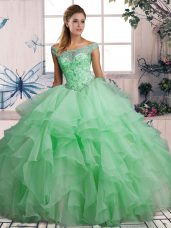 Apple Green Ball Gowns Off The Shoulder Sleeveless Organza Floor Length Lace Up Beading and Ruffles 15th Birthday Dress