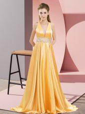 Exquisite Gold V-neck Neckline Beading Prom Party Dress Sleeveless Backless