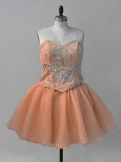 Sumptuous Mini Length Lace Up Homecoming Dresses Orange for Prom and Party with Beading