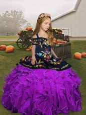 Floor Length Eggplant Purple and Purple Little Girl Pageant Gowns Straps Sleeveless Lace Up