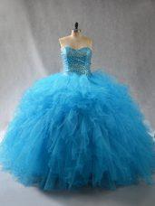 Custom Made Floor Length Baby Blue Sweet 16 Dresses Sweetheart Sleeveless Lace Up