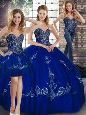 Pretty Royal Blue Tulle Lace Up Sweetheart Sleeveless Floor Length Quinceanera Gown Beading and Embroidery