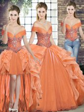 Floor Length Orange Sweet 16 Quinceanera Dress Off The Shoulder Sleeveless Lace Up