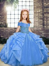 High End Blue Sleeveless Floor Length Beading and Ruffles Lace Up Pageant Gowns For Girls