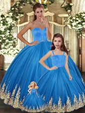Exquisite Tulle Sleeveless Floor Length Quinceanera Gowns and Embroidery