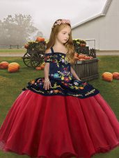 Fantastic Coral Red Ball Gowns Organza Straps Sleeveless Embroidery Floor Length Lace Up Little Girls Pageant Dress Wholesale