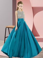 Teal Scoop Backless Beading Homecoming Dress Sleeveless
