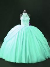 Sophisticated Apple Green Lace Up Halter Top Beading Ball Gown Prom Dress Tulle Sleeveless