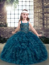 On Sale Teal Sleeveless Floor Length Beading and Ruffles Lace Up Little Girl Pageant Dress