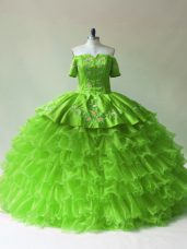 Extravagant Ball Gowns Off The Shoulder Sleeveless Organza Floor Length Lace Up Embroidery and Ruffled Layers Ball Gown Prom Dress