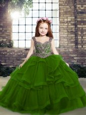Dazzling Ball Gowns Pageant Dress for Girls Green Straps Tulle Sleeveless Floor Length Lace Up