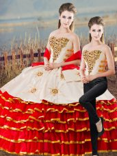 Colorful Appliques and Ruffled Layers Quinceanera Dresses White And Red Lace Up Sleeveless Floor Length