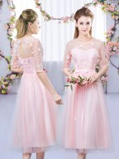 Beauteous Tea Length Baby Pink Wedding Party Dress Tulle Half Sleeves Lace and Belt