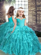 Aqua Blue Straps Lace Up Beading and Ruffles Kids Pageant Dress Sleeveless
