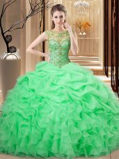 Traditional Ball Gowns Beading and Ruffles and Pick Ups Ball Gown Prom Dress Lace Up Organza Sleeveless Floor Length