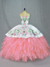 Dramatic Sleeveless Organza Floor Length Lace Up Sweet 16 Dresses in Pink with Embroidery and Ruffles