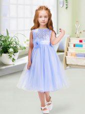 Scoop Sleeveless Zipper Flower Girl Dress Lavender Organza