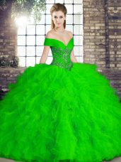 Chic Green Tulle Lace Up Off The Shoulder Sleeveless Floor Length Quinceanera Gowns Beading and Ruffles