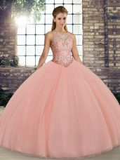 Ball Gowns 15 Quinceanera Dress Peach Scoop Tulle Sleeveless Floor Length Lace Up