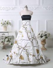 Gorgeous Multi-color Strapless Lace Up Pattern Wedding Dresses Brush Train Sleeveless