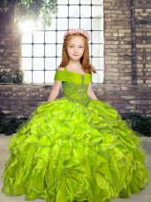 Olive Green Straps Neckline Beading Pageant Gowns For Girls Sleeveless Lace Up