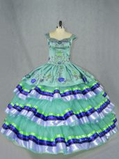 Elegant Apple Green Organza Lace Up Straps Sleeveless Floor Length Quinceanera Gowns Embroidery and Ruffled Layers