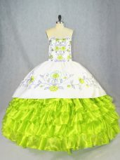 Floor Length Ball Gown Prom Dress Organza Sleeveless Embroidery and Ruffled Layers