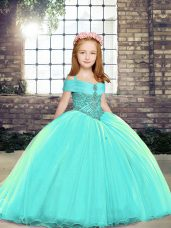 Latest Aqua Blue Ball Gowns Straps Sleeveless Beading Lace Up Party Dress for Toddlers Brush Train