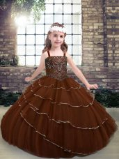 Latest Floor Length Brown Little Girl Pageant Dress Tulle Sleeveless Beading and Ruffled Layers