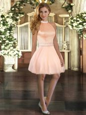 Fantastic Mini Length Ball Gowns Sleeveless Peach Homecoming Dress Online Backless