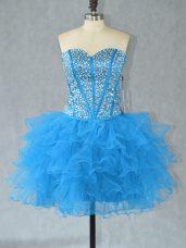 Comfortable Sweetheart Sleeveless Dress for Prom Mini Length Beading and Ruffles Aqua Blue Organza
