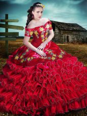 Sleeveless Embroidery and Ruffles Lace Up Vestidos de Quinceanera