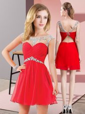 Red A-line Chiffon Scoop Sleeveless Beading Mini Length Backless Prom Dresses