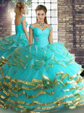 Sleeveless Floor Length Beading and Ruffled Layers Lace Up 15th Birthday Dress with Aqua Blue
