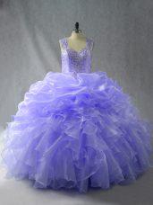 Fabulous Lavender Ball Gowns Organza Straps Sleeveless Beading and Ruffles Floor Length Zipper Sweet 16 Dresses