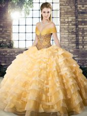 Organza Sleeveless Sweet 16 Quinceanera Dress Brush Train and Beading and Ruffled Layers
