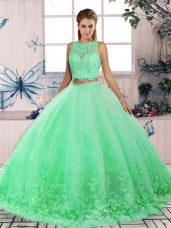 Exceptional Turquoise Quinceanera Gown Scalloped Sleeveless Sweep Train Backless