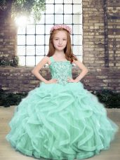 Popular Floor Length Lace Up Pageant Dress Apple Green and In with Beading and Ruffles